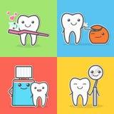 Cartoon teeth care and hygiene illustrations Royalty Free Stock Image