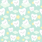 Cartoon teeth cute colorful seamless pattern background illustration Stock Photos