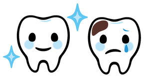 Cartoon teeth dental care. The scared tooth with caries and healthy tooth Stock Photography