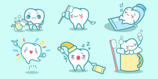 Cartoon teeth do different things. Great for your health Stock Images