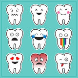 Cartoon teeth emoticons Stock Photo