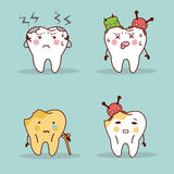Cartoon teeth have toothache Stock Photo
