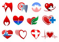 Cartoon teeth and hearts for dentistry design Stock Images
