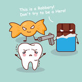 Cartoon teeth robbery by dessert. Cute cartoon teeth robbery by unhealthy candy and chocolate, great for health dental care concept Stock Image