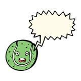 Cartoon tennis ball with speech bubble Stock Image