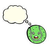Cartoon tennis ball with thought bubble Royalty Free Stock Images