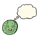 Cartoon tennis ball with thought bubble Royalty Free Stock Photo