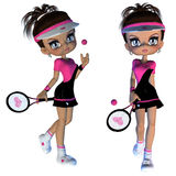 Cartoon Tennis Player Stock Photo