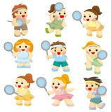 Cartoon Tennis Players icon Royalty Free Stock Photo