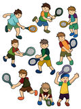 Cartoon Tennis Players icon. Drawing Stock Images