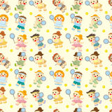 Cartoon Tennis Players seamless pattern. Drawing Royalty Free Stock Photo