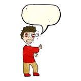 Cartoon terrified boy with speech bubble Stock Image