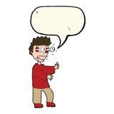 Cartoon terrified boy with speech bubble Royalty Free Stock Image