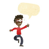 Cartoon terrified man with eyes popping out with speech bubble Royalty Free Stock Image
