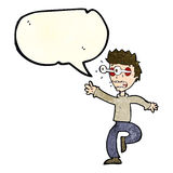 Cartoon terrified man with eyes popping out with speech bubble Royalty Free Stock Photography