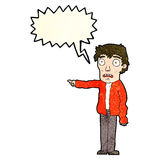 Cartoon terrified man pointing with speech bubble Stock Photography