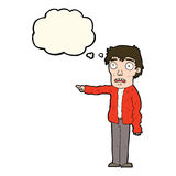 Cartoon terrified man pointing with thought bubble Stock Images