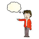 Cartoon terrified man pointing with thought bubble Royalty Free Stock Photography