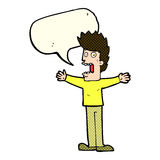 Cartoon terrified man with speech bubble Stock Image