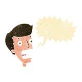 Cartoon terrified man with speech bubble Royalty Free Stock Photos