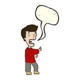 Cartoon terrified man with speech bubble Royalty Free Stock Photography