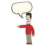 Cartoon terrified man with speech bubble Stock Photos