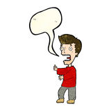 Cartoon terrified man with speech bubble Royalty Free Stock Image