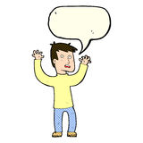 Cartoon terrified man with speech bubble Royalty Free Stock Image