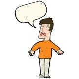 Cartoon terrified man with speech bubble Stock Photo