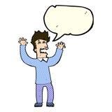 Cartoon terrified man with speech bubble Stock Photography