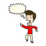 Cartoon terrified man with speech bubble Royalty Free Stock Photo