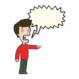 Cartoon terrified man with speech bubble Stock Images