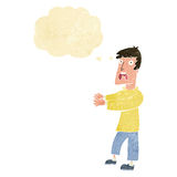 Cartoon terrified man with thought bubble Royalty Free Stock Photography