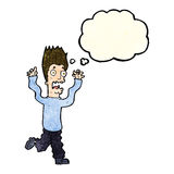 Cartoon terrified man with thought bubble Royalty Free Stock Images