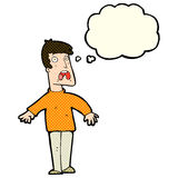 Cartoon terrified man with thought bubble Stock Photos