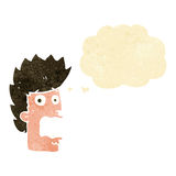 Cartoon terrified man with thought bubble Royalty Free Stock Photo