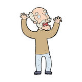 Cartoon terrified old man Stock Photo