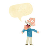Cartoon terrified old man with speech bubble Stock Photography