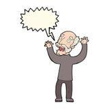 Cartoon terrified old man with speech bubble Stock Photos