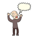 Cartoon terrified old man with speech bubble Stock Images