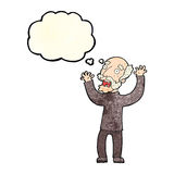 Cartoon terrified old man with thought bubble Royalty Free Stock Photo