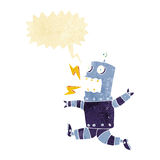 Cartoon terrified robot with speech bubble Royalty Free Stock Photography