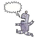 cartoon terrified robot with speech bubble Stock Photo