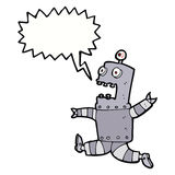 cartoon terrified robot with speech bubble Stock Images