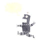 cartoon terrified robot with speech bubble Stock Image