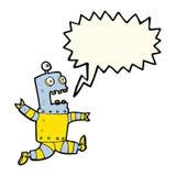Cartoon terrified robot with speech bubble Stock Photos
