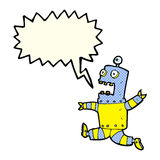 Cartoon terrified robot with speech bubble Stock Photography
