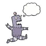 cartoon terrified robot with thought bubble Stock Images