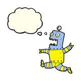 Cartoon terrified robot with thought bubble Royalty Free Stock Image