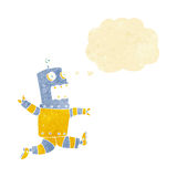 Cartoon terrified robot with thought bubble Royalty Free Stock Photos